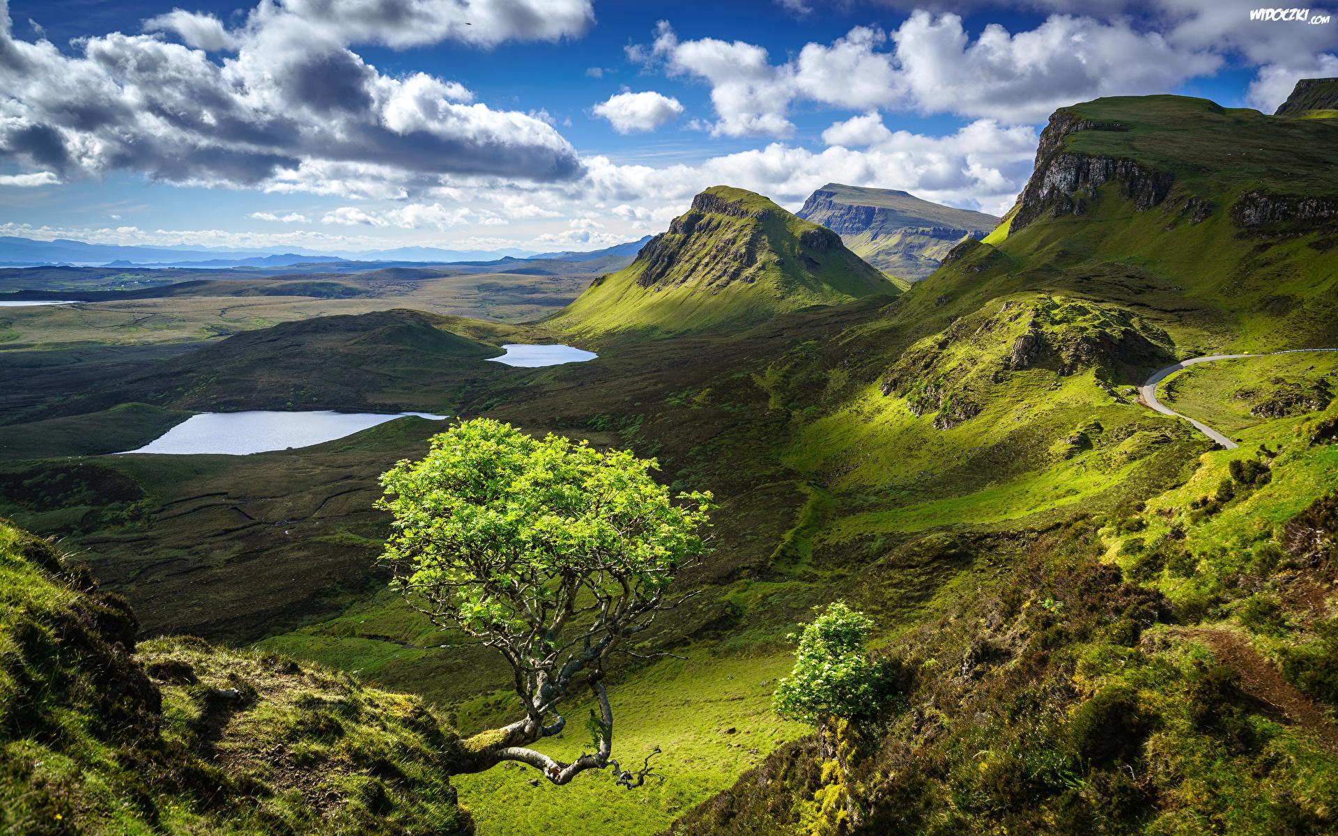 Góry, Jeziora, Zielone, Drzewo, Chmury, Wyspa Skye ...