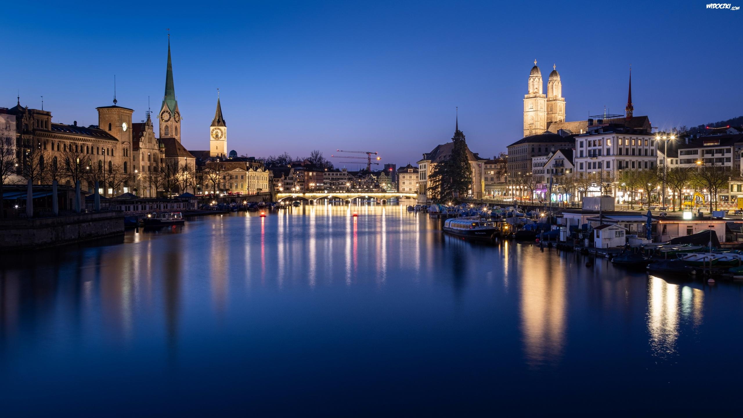 Szwajcaria, Zurych, Noc, Domy, Rzeka Limmat, Most